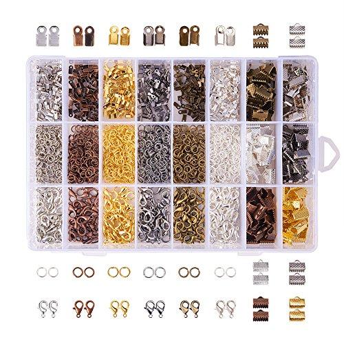 PandaHall Schmuckzubehör-Sets mit Eisenkordelenden Bandenden Biegeringen und Zinklegierungs-Karabinerhaken Mischfarbe