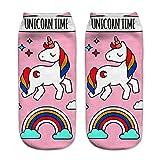 Calcetines tobilleros deportivos, de la marca Jysport, con estampado de unicornio, unicorn time in pink