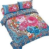 Oxford Homeware 3-teiliges böhmisches Bettbezug-Set, buntes Medaillon- & Boho-Muster-Quilt-Sets mit 2 Kissenbezügen und 1 Bettbezug (Doppelbett / Double / Spirit) 3P Duvet Set