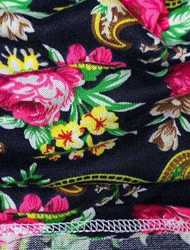 Lady Paisleys Motif Floral Taille élastique robe courte à manches longues Multicolore