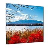 Bilderdepot24 Immagine su telaio a cunei Fuji in autunno 100x100 cm - Già montato sul telaio, stampa su tela di cotone 100%, Stampa artistica intelaiata e pronta da appendere