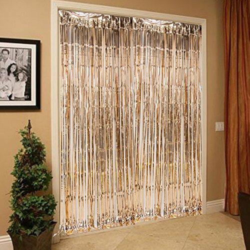 2 packs photo booth fondali tende di stagnola opache metallico tinsel tende di fondo porta frangia tende per matrimonio compleanno natale halloween disco party favore decorazioni (oro rosa)