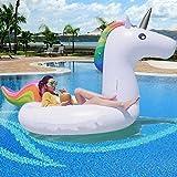 Unicornio Hinchable XXL 275cm Colchonetas Piscina, Flotador Unicornio Piscina Para Adultos Flotadores PVC piscina juguetes gigante camas de aire piscina infantil juguetes inflable para 2-3 personas (275x140x120cm)