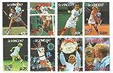 Giocatori di tennis più richiesti da 1980 Scott 988-995 - set completo di 8 francobolli emessi 1.985 / St.Vincent / MNH - Stampbank - amazon.it