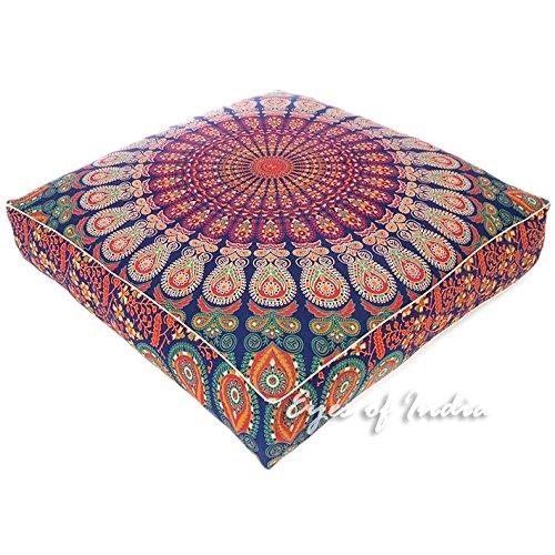 """Eyes of India - 35"""" Grand Mandala Carré Sol Housse Oreiller Pouf Méditation Coussin Siège Hippie Coloré Décoratif Boho Bohème Chien Lit Indien Housse Uniquement"""