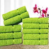 #8: Story@Home Solid 10 Piece 450 GSM Cotton Face Towel Set - Green
