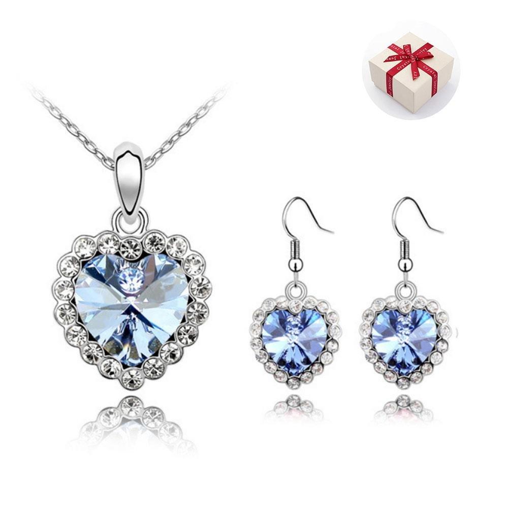 Set di gioielli Collana del Pendente e Orecchini e Cristalli Da Nuovo Regolabile Regalo di Natale Pe
