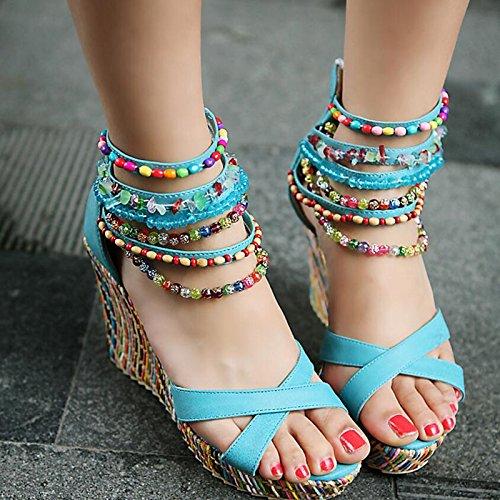 CXKS Nouvelle Femme Sandales D'Été Open Toe Zipper String String Perlé ShoesWedges High Heels
