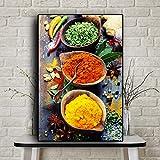 zgmtj Granos Especias Cuchara Pimientos Comida Lienzo Pintura Cuadros Carteles e Impresiones Cocina escandinava Imagen de Arte de Pared Sala de Estar