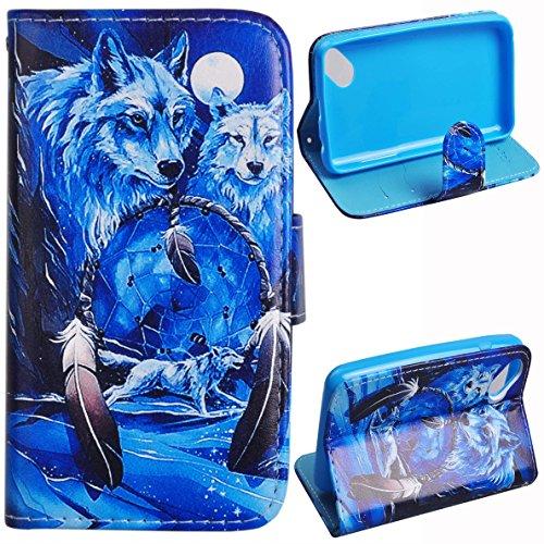 Voguecase® für Wiko Sunset 2, Kunstleder Tasche PU Schutzhülle Tasche Leder Brieftasche Hülle Case Cover (Weiß Wolf) + Gratis Universal Eingabestift