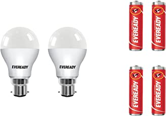 Eveready B22 Base 7-Watt LED Bulb (Pack of 2, Cool Day Light) with Free 4 1015 AA carbon zinc batteries