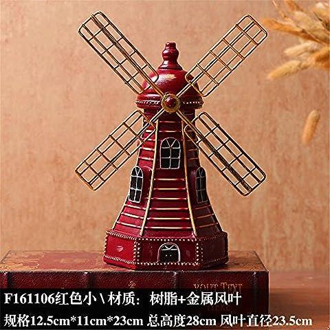Tqhome rétro Dutch Résine Home Décoration de moulin à vent - Rouge S