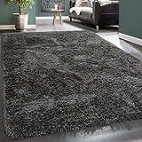 Paco Home Hochflor Teppich Kuschelig Modern Shaggy Flokati Stil Gemütlich Uni Anthrazit, Grösse:80x150 cm