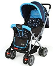 LuvLap Sunshine Stroller/Pram, with Mosquito net, for Newborn Baby/Kids, 0-3 Years (Sky Blue)