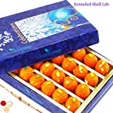 Ghasitaram Gifts Rakhi Gifts For Brother - Rakhi Sweets - Sweets Sugarfree Motichoor Ladoo Box 200 Gms With Rudraksh...
