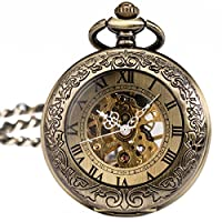 ManChDa® Special Magnifier Mens Pocket Watch Half Hunter Roman Numerals Antiqued Bronze/Black Fob Pendant with Chain + Gift Box