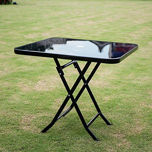 Klapptisch YXX- Kleiner Freien und Stühle stellten mit Regenschirm-Loch für Das kampierende Garten-Schwarze Runde faltende Speisen- & Coffee & Tea Desks Erwachsene Ein (Farbe : Square Table) (Glas Stuhl Square)