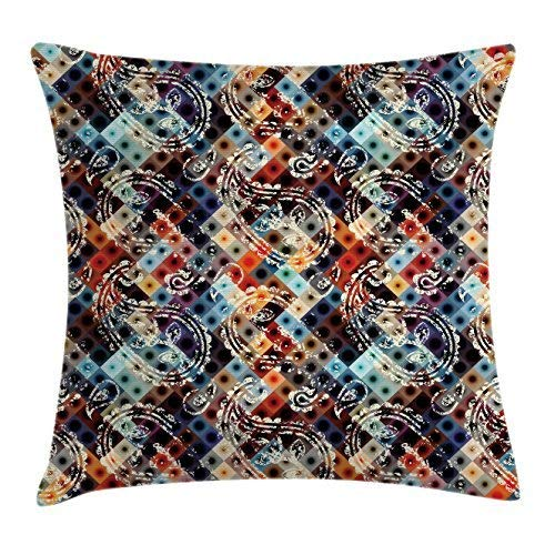 Europäische Paisley-sham (Modern Decor Throw Pillow Cushion Cover, Geometric Retro Design Background with Paisley Figures Spots Like Art Print, Decorative Square Accent Pillow Case, Multicolor 18