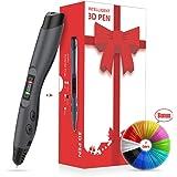 Stylo 3D compatible avec PLA & ABS 1,75 mm, Stylo d'imprimante 3D avec port USB, Stylo de Dessin 3D Doodler avec écran LCD pour Enfants,Cadeau de Noël, Stylo 3D (Noir)