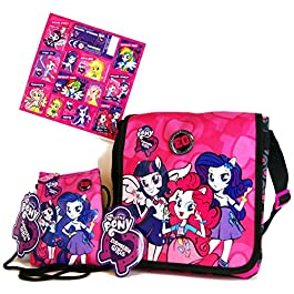3pezzi My Little Pony–Equestria Girls–Super Set–Borsa a tracolla (20x 20x 5cm) + bambini Borsetta/Taschino/Portafogli (14x 12cm) + 12Equestria Girls Sticker