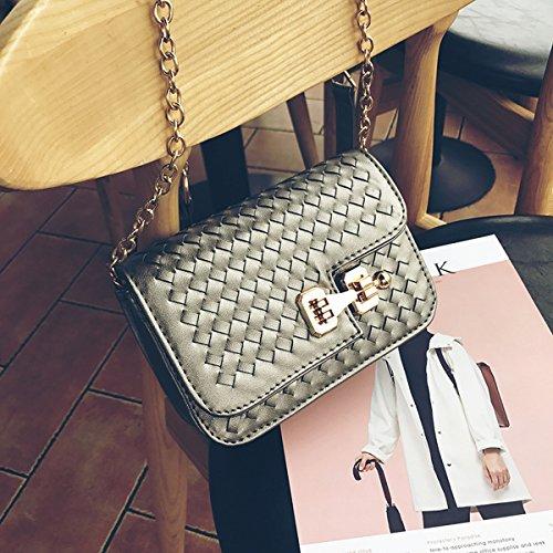Einfache Form gewebt Kleine Tasche quadratisch mini Schulter Schulter diagonal Paket hellgrau