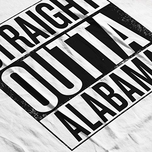 Black Text Straight Outta Alabama US States Women's Hooded Sweatshirt White