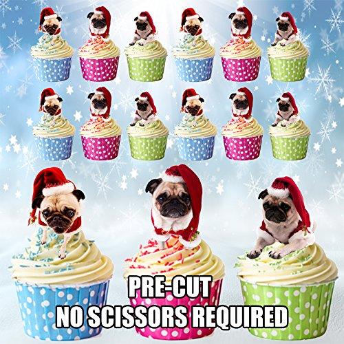 Weihnachten Kuchen Dekorationen 12Möpse in Santa Hüte Esspapier Cup Cake (Santa Qualität Hut)