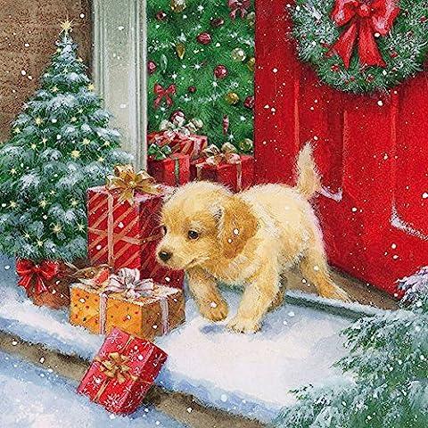 20 Servietten 33x33 cm Weihnachten kleiner Hund Tiere Geschenke Weihnachtsbaum warten