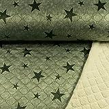 Teddy-Stepper Doubleface Sterne olivgrün Kuschelstoff