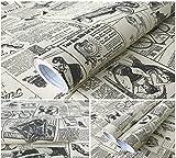 Alte Mode Zeitung Kontakt Papierrolle Peel Stick Regal Schublade Liner Locker Aufkleber selbstklebende Vinyl Regal Schublade Liner für Möbel Kunst Handwerk Home Decor 23,6 Zoll von 9.8ft
