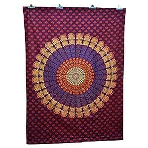 Mandala coton indien Tapisserie murale Couvre-lit Prune Home Decor Inde 82 X 58 cm