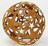 HSM Dekorative Stern-Kugel Deko-Kugel Garten-Kugel Metall rostig DM= 35 cm