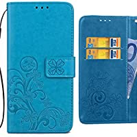 Fundas LG X power, K220 Carcasa, Ougger Art Hoja Premium Billetera PU Cuero Magnética Stand Silicona Flip Piel Bumper Protector Tapa Cover con Ranura para Tarjetas (Azul)