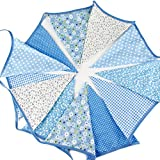 G2PLUS Guirnalda de banderas de tela triangulares extra larga (304,8 cm) - Decoración chic y bohemia para fiestas de cumpleaños, ceremonias, cocinas y habitaciones, Azul