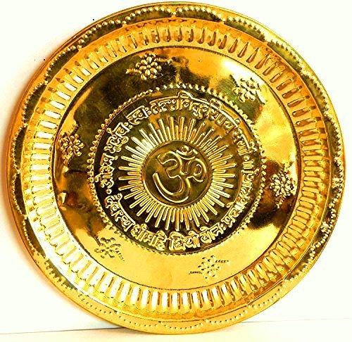 Divya Shakti Handmade Hindu Brass Puja Thali - Engraved Om Symbol and Gayatri Mantra - Religious Gifts - Diameter 5.5 Inch, For Diwali and Festival Gifts ( Religious Item Pooja Thali )