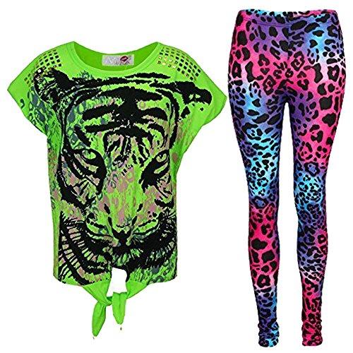 A2Z 4 Kids® New Girls Tigergesicht Aufdruck T Shirt & Leopard Leggings Set - Neon Grün, 9-10 Jahre