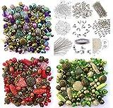 1200cuentas para joyas aprox., incluye 3conjuntos de verde, rojo y púrpura, bisutería varios colores