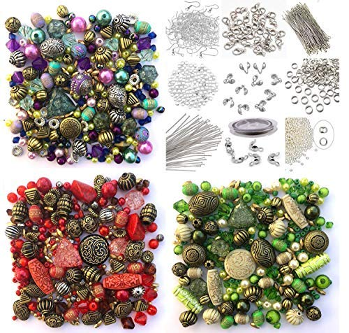 Approx 1200 Jewellery Beads includes 3 x sets of Green, Red &...