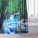 Cortina de ducha para baño con 12 ganchos Impermeable PEVA Impresión 3D Digitaces 180 X 180cm (Paisajes)