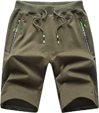 Tansozer Mens Casual Sports Shorts with Elastic Waist Zipper Pockets