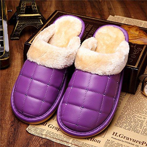 DogHaccd pantofole,Il cotone pantofole uomini e donne impermeabile coppie invernale con trattamento di mezza pensione con dense e calde home soggiorno con lussuosi interni pelle pu pantofole La porpora2