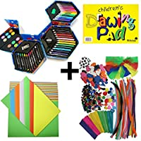 CHILDRENS MASSIVE ART AND CRAFT BUNDLE - INCLUDES 52 PC ART SET, 320+ PC CRAFT SET, COLOURED CRAFT PAPER PAD, SILVINE DRAWING PAD - INCLUDES EVERYTHING YOUR BUDDING ARTIST CRAFTER WILL NEED - GREAT QUALITY PRODUCTS IN A GREAT BUNDLED PACKAGE - ART CRAFT PENS PENCILS PAINTING DRAWING EVERYTHING FOR HOURS OF FUN - GREAT GIFT FOR KIDS