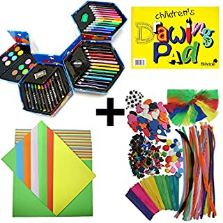 CHILDRENS MASSIVE ART CRAFT - INCLUDES 52 PC ART SET, 320+ PC CRAFT SET, COLOURED CRAFT PAPER ART CRAFT PENS PENCILS PAINTING DRAWING