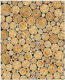 Wallario Magnet für Kühlschrank/Geschirrspüler, magnetisch haftende Folie - 65 x 80 cm, Motiv: Holzstapel rund