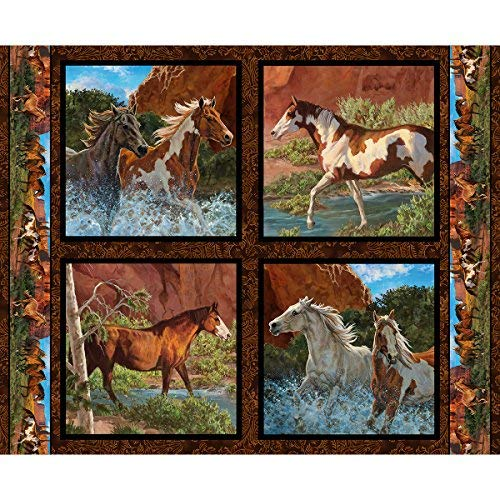 Pferd Stoff Wild Flügel Kissen Panel Rivers Edge Fabric by the Panel (Pferd-gewebe-panel)