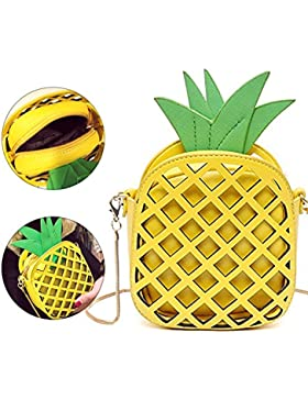 Mädchen Pineapple Ananas 3D kleine süße Obst Tasche mini Umhängetasche moderne Handtasche transparente Abendtasche...
