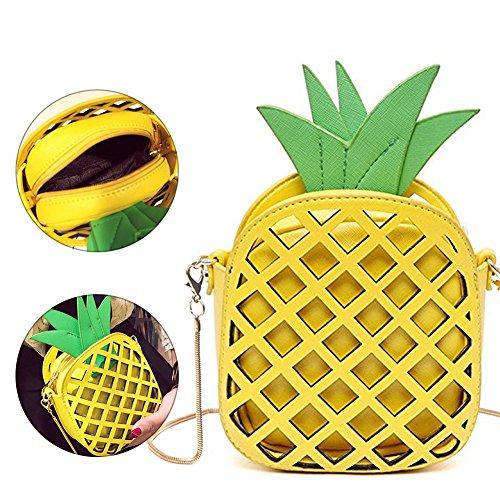 Sunroyal Mädchen Pineapple Ananas 3D kleine süße Obst Tasche mini Umhängetasche moderne Handtasche transparente Abendtasche PU leder Clutch Party-bags mit Umhängegurt Reißverschluss Gleb