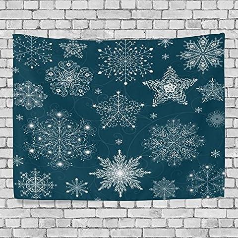 welllee Merry Christmas Wand Gobelin, blau Weihnachts Schneeflocken Flwoer, werfen Home Decor Wandteppich für Schlafzimmer oder Wohnzimmer, 60x 40(in), Textil, blau, (Beatles Christmas Time)