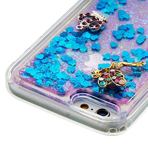MOONCASE iPhone 6S Hülle, Bling Glitzer [Lips] Muster Strass Flüssiger Schutzhülle für iPhone 6 / 6S (4.7 inch) Weiche Silikon Soft Gel TPU Case Back Cover Silber 02 Blau 03