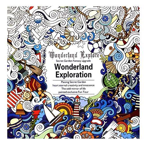 duanin - libro da colorare per adulti per terapia del giardino, delle piante, degli animali, dell'oceano d
